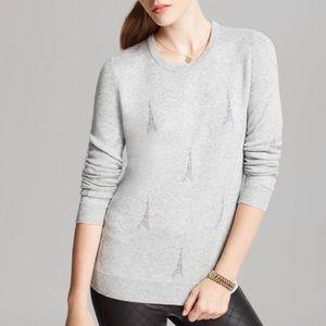 Joie Gray Cashmere Valera Eiffel Tower Sweater
